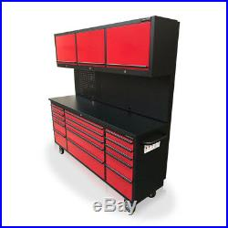 434 Us Pro Tool Chest Box Workbench Red With Black 72 3 X Cupboards Back Panel