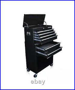 8 Drawer Black Gloss Pro Tool Chest Box Cabinet With Ball Bearing Drawers