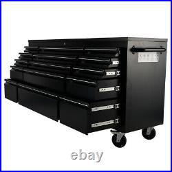 Pro 55 72inch Black Tool Box Chest Cabinet Station With 10/15 Drawers On Wheels