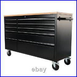 Professional 55 10 Drawers Tool Box Chest Roller Cabinet Black Bench Tools Top