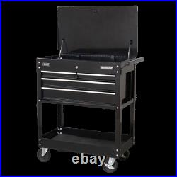 Sealey Superline Pro HD Mobile Tool/Parts Trolley 4 Drawer + Lockable Top-Black