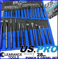 US PRO Tools 28pc Punch & Chisel Tool Set, Punches and Chisels 2232 Cold Chisels