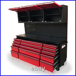 Us Pro Tool Chest Box Workbench Black Red Workstation 72 3 X Cupboards