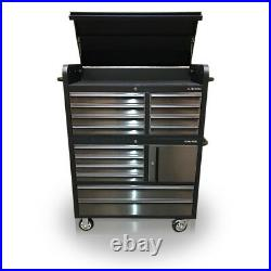 Us Pro Tools Tool Cabinet Chest Box Black + Stainless Steel 41 With Tools